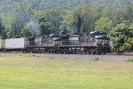 NS 9188 and 9563 take a container train westbound through Marysville PA