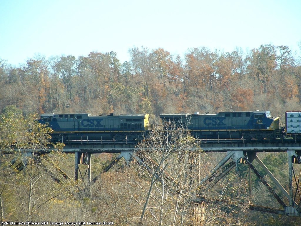 CSX 70 leads a northbound train over the Mulberry Fork of the Warrior River