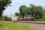 NS 9220 and 9637 take train 20W east past milepost 116