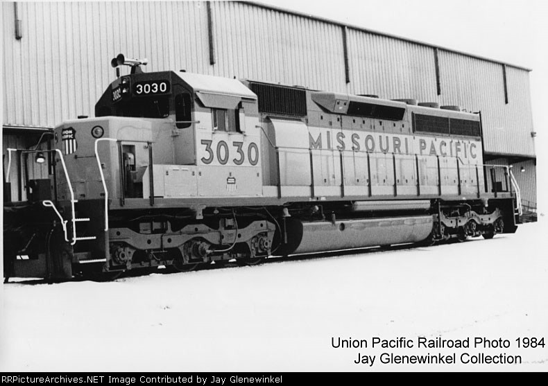 UP 3030 painted as MoPac 3030 in 1984..First Merger Paint Scheme