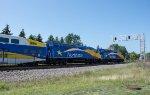 An inbound doubleheader Northstar arrives at Coon Rapids-Riverdale