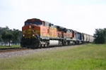 K929 heads toward Tafts with 2 BNSF units and MRL trailing