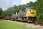 CSX 738 and 713 head south after crew change. Slow going since they are following a hi-railer doing a track inspection