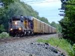 GCFX 3082 leads a Q200-series train at Game Farm Rd.
