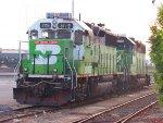 BNSF 3119 & BNSF 2101, a pair of Burlington Northern Cascade Green geeps in Los Angeles!