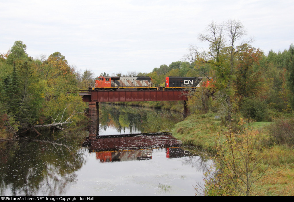 L593 rolls over the Whiteface River on its way to Proctor