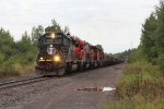 A four pack of EMD's bring a Two Harbors train for Minorca north