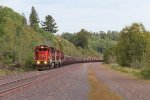 After meeting a southbound at the far end of the siding, CN 2032 leads U788 north