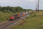 On the old DMIR Interstate Branch, CN stacks roll north
