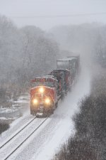 IC 2710 comes out of the snow leading Q196 south