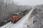 IC 2710 & 5647 races south through the snow covered trees