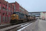 CSX 5434 leads 281 slowly west through the industrial valley