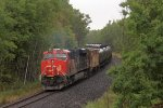 CN 2876 heads away in to the woods at the rear of U260
