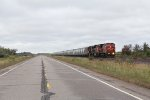Loaded sand train S733 comes north on the Missabe Sub