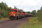 Three EMD's start south with another train of taconite from Minntac