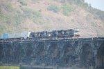 NS 9914 leads a train over Rockville bridge