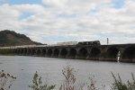 NS 9325  leads train 23M west over Rockville bridge