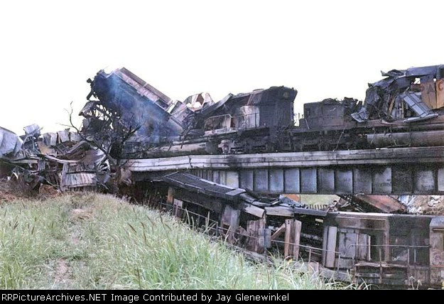 UP 5981, 4211. 9107 and 2 other locomotives involved in the head on collision. Photo taken 4 hours after wreck occured