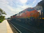 BNSF 599 EX: Santa FE 666 trailing on a manifest mixed train