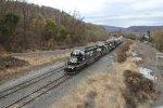 NS 3374 leads train H53 into Enola yard