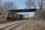 A pair of SD40 type locomotives lead Q329 west
