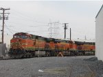 BNSF power backing into the LAJ