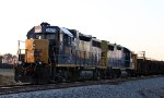 Train F015 with CSX 2573 & 2772 are tied down in the siding