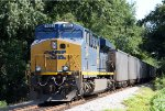 CSX 905 pushes on the rear of a loaded coal train
