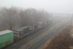 NS 6950 leads train 11Z onto 35 track through Enola's fog