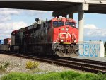 W/B CN 2938/3122 intermodal, just through far east end track switch for Colebrook, on the main line