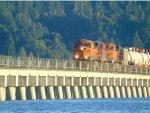 BNSF/CP power N/B on Mud Bay Bay Crossing