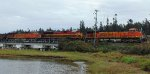 BNSF 6250/KCS 4121/BNSF 6065 just completed Mud Bay Crossing, entering Crescent Beach