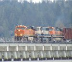 BNSF 7805/9794/967 N/B mixed freight consist on the Mud Bay Crossing