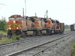 BNSF 5125/4110/3138 and CN 7507 moving empty coal hoppers on Mud Bay West Siding