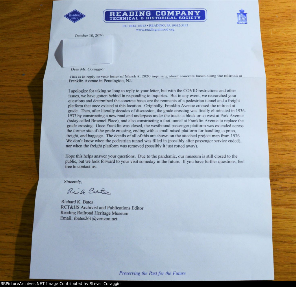Letter from the Reading Company Technical & Historical Society