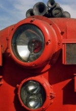 Close-up of headlights on SP FM Trainmaster 3031