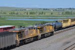 UP 2730 Drags a load out of North Platte NE.