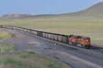 BNSF 6281 Heads up a loaded coal train on the Orin Sub.