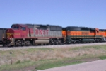 Make-shift pusher set out of Sydney, Ne to help a Stalled SB coal train