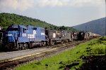 Conrail freight gets passed by an N&W freight