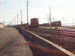 CN 5415 constructing large inter-modal train, Roberts Bank yard