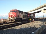 CN 3081/3073 light power picking up inter-modals from east siding Roberts Bank