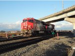 CN 3081/3073 light power units returning W/B into Roberts Bank with inter-modals from east siding