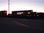 CP 5015, after sunset, moving intermodal containers, Robert's Bank Yard, west end
