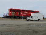 CP 5013 getting trackside/roadside maintenance at the east end of Roberts Bank Yard