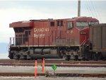 Trailing DPU CP 8778 pushing an empty coal hopper train E/B through Roberts Bank Yard