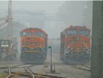 BNSF 253/6326 in the CN/BNSF New Westminster Yard, surrounded by forest fire smoke.
