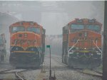 BNSF 253/6326 parked in the CN/BNSF New Westminster Yard amid forest fire smoke.