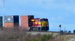 CN 3069, Wisconsin Central Heritage unit, E/B with a unit stack train on the descending grade after the Hwy 99 overpass