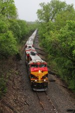 Approaching the Missouri state line, grain empties work their way north on the KCS main
